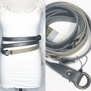 NWT Eileen Fisher gray Leather and Canvas Belt med